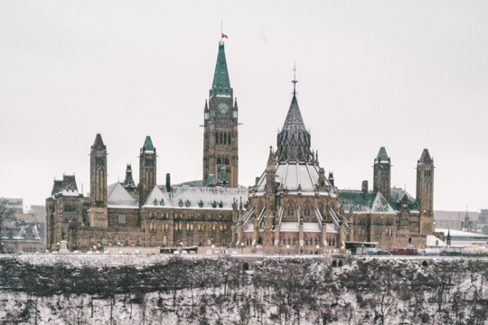 View of Parliament Hill in winter