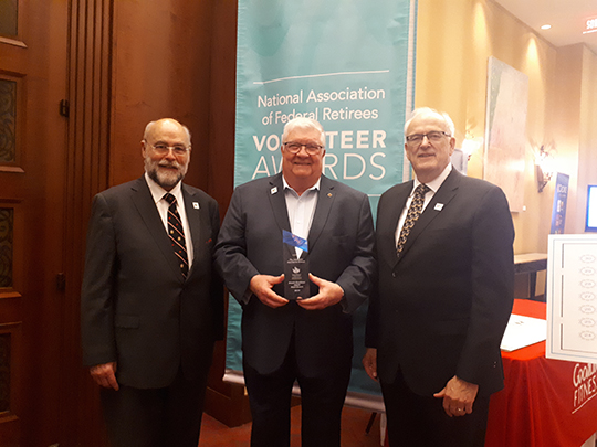 We did it this year, we took home the Small Branch Excellence Award, good work everyone, we all deserve a pat in the back, a fist bump and a high 5!    Pictured at the Association's 2019 Annual Members Meeting Volunteer Awards Recognition Dinner in June are (from left to right) Peter Kerr of Nova Scotia Region, Gene Bell CD, president of the Colchester-East Hants and Léonard LeBlanc, Director, District of Atlantic.