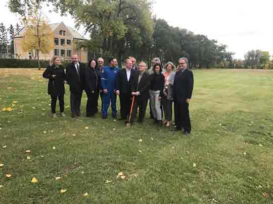 October 2017 breaking ground for the new helicopter STARs landing pad. The Minster of Health, Kelvin Goertzen, and CEO of Southern Health, Jane Curtis.