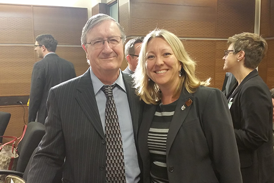 Federal Retirees' President Jean-Guy Soulière (left) and Member of Parliament Mona Fortier (right).