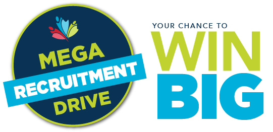 Logo:  Mega recruitment Drive.  Your chance to win big.