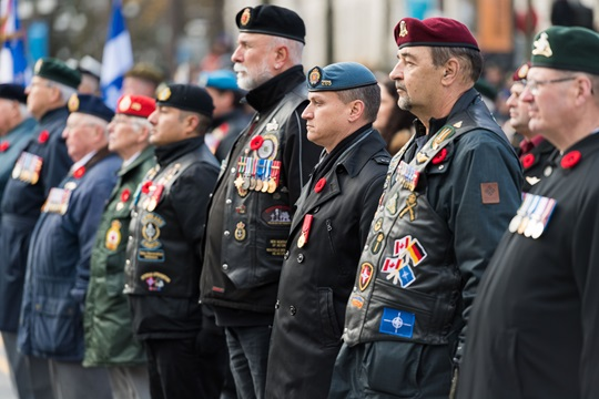 Veterans participate in a Remembrance Day ceremony at the Citadelle in Québec, Québec, November 11, 2016.