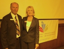 Kate Young of the Liberal Party and Branch President Gerry Filek